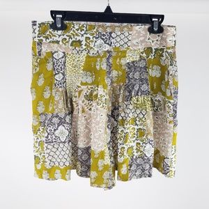 NEW Anthropologie Maeve Pleated Patchwork Shorts